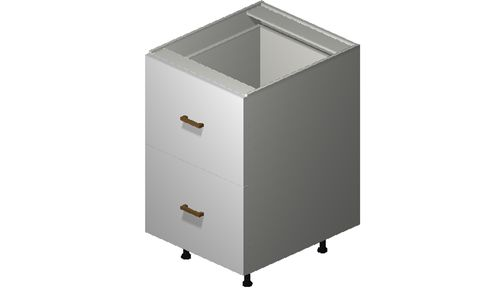 """Monte Carlo Gloss White 21"""" x 34.75"""" x 24"""" 2 Drawers, 1 Inner Drawer Base Cabinet"""