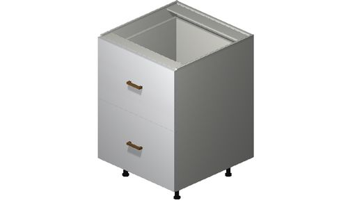 """Monte Carlo Gloss White 24"""" x 34.75"""" x 24"""" 2 Drawers, 1 Inner Drawer Base Cabinet"""