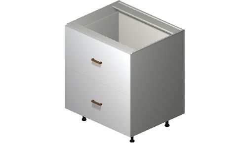 """Monte Carlo Gloss White 30"""" x 34.75"""" x 24"""" 2 Drawers, 1 Inner Drawer Base Cabinet"""