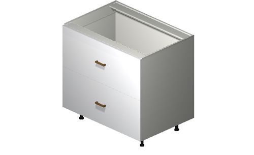 """Monte Carlo Gloss White 36"""" x 34.75"""" x 24"""" 2 Drawers, 1 Inner Drawer Base Cabinet"""