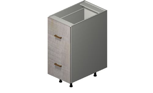 """Cortina Oyster Shell 15"""" x 34.75"""" x 24"""" 2 Drawers, 1 Inner Drawer Base Cabinet"""