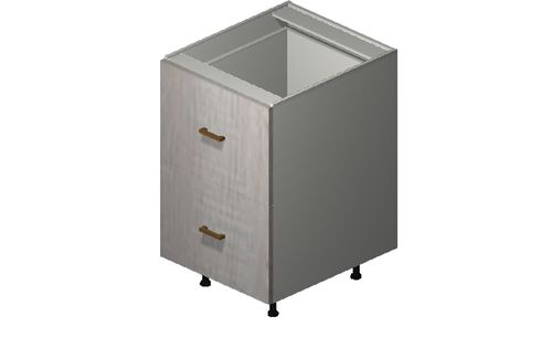 """Cortina Oyster Shell 21"""" x 34.75"""" x 24"""" 2 Drawers, 1 Inner Drawer Base Cabinet"""