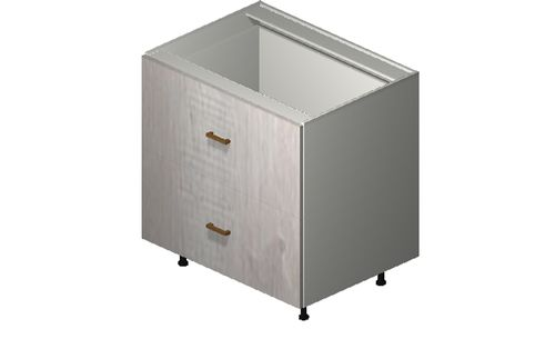 """Cortina Oyster Shell 33"""" x 34.75"""" x 24"""" 2 Drawers, 1 Inner Drawer Base Cabinet"""