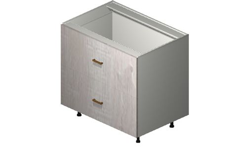 """Cortina Oyster Shell 36"""" x 34.75"""" x 24"""" 2 Drawers, 1 Inner Drawer Base Cabinet"""