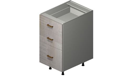 """Cortina Oyster Shell 18"""" x 34.75"""" x 24"""" 3 Drawers Base Cabinet"""