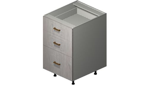 """Cortina Oyster Shell 21"""" x 34.75"""" x 24"""" 3 Drawers Base Cabinet"""