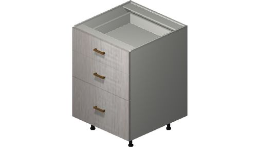 """Cortina Oyster Shell 24"""" x 34.75"""" x 24"""" 3 Drawers Base Cabinet"""