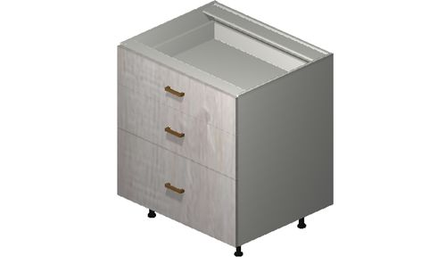"""Cortina Oyster Shell 30"""" x 34.75"""" x 24"""" 3 Drawers Base Cabinet"""