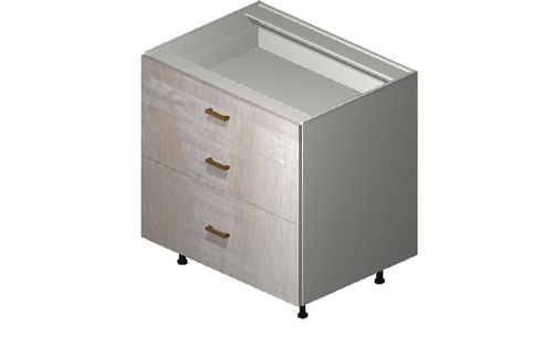 """Cortina Oyster Shell 33"""" x 34.75"""" x 24"""" 3 Drawers Base Cabinet"""