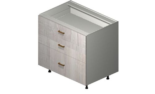 """Cortina Oyster Shell 36"""" x 34.75"""" x 24"""" 3 Drawers Base Cabinet"""