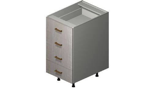 """Cortina Oyster Shell 18"""" x 34.75"""" x 24"""" 4 Drawers Base Cabinet"""