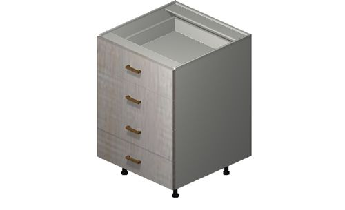 """Cortina Oyster Shell 24"""" x 34.75"""" x 24"""" 4 Drawers Base Cabinet"""