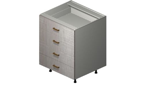 """Cortina Oyster Shell 27"""" x 34.75"""" x 24"""" 4 Drawers Base Cabinet"""