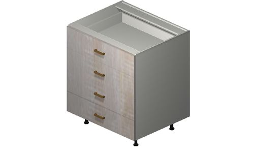 """Cortina Oyster Shell 30"""" x 34.75"""" x 24"""" 4 Drawers Base Cabinet"""