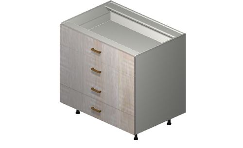 """Cortina Oyster Shell 36"""" x 34.75"""" x 24"""" 4 Drawers Base Cabinet"""