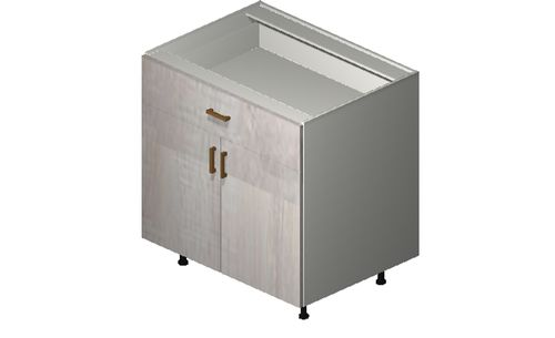 """Cortina Oyster Shell 33"""" x 34.75"""" x 24"""" 2 Doors, 1 Drawer Base Cabinet"""