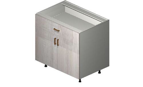 """Cortina Oyster Shell 36"""" x 34.75"""" x 24"""" 2 Doors, 1 Drawer Base Cabinet"""