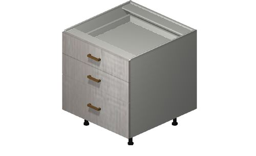"""Cortina Oyster Shell 24"""" x 27.13"""" x 24"""" Desk 3 Drawers Base Cabinet"""