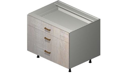 """Cortina Oyster Shell 33"""" x 27.13"""" x 24"""" Desk 3 Drawers Base Cabinet"""
