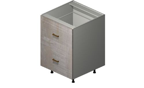 """Cortina Oyster Shell 24"""" x 34.75"""" x 24"""" Range Top 2 Drawers Base Cabinet"""