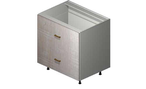 """Cortina Oyster Shell 33"""" x 34.75"""" x 24"""" Range Top 2 Drawers Base Cabinet"""