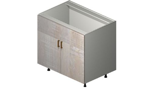 """Cortina Oyster Shell 36"""" x 34.75"""" x 24"""" Sink 2 Doors, 1 False Drawer Base Cabinet"""