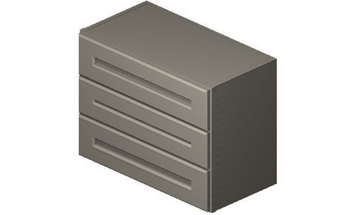 """Shaker Dove 24"""" x 18"""" x 12"""" 3 Drawers Wall Cabinet"""