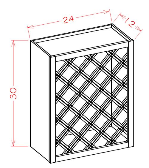 """Shaker Antique White 24"""" x 30"""" x 12"""" Wine Rack Wall Cabinet"""