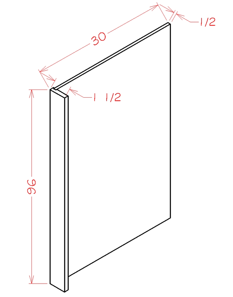 "Shaker White Refrigerator End Panel (30 x 96"" x 0.5"")"""