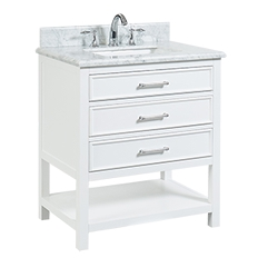 "North Harbor White Freestanding Cabinet with Single Basin Integrated Sink and Countertop - Three Drawers (31 x 34.75"" x 22"")"""