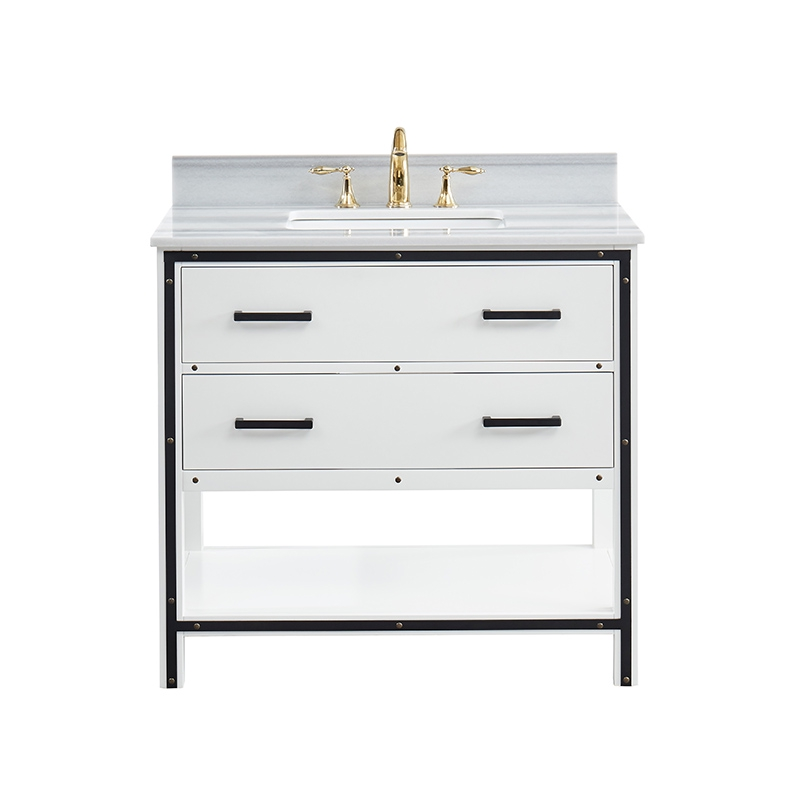 """Axel Dove White Freestanding Vanity Cabinet with Single Basin Integrated Sink and Countertop - Two Drawers (37 x 34.5"""" x 22"""")"""""""