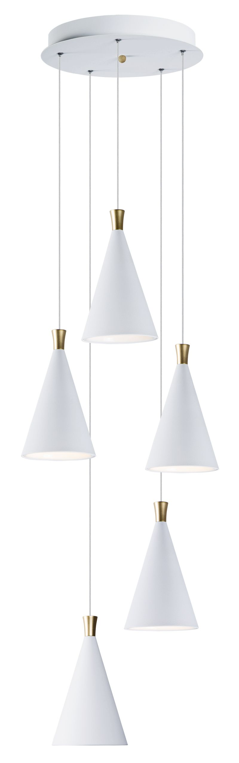 "Norsk 15.25"" 5-Light Multi-Light Pendant - White / Metallic Gold"