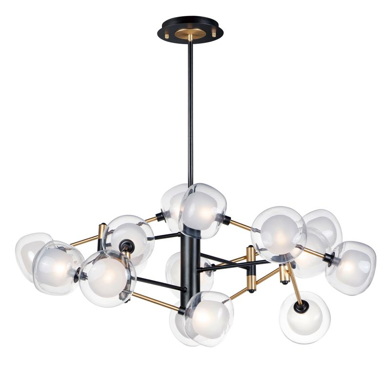 "Parallel 49.25"" 16-Light Multi-Light Pendant - Black / Gold"