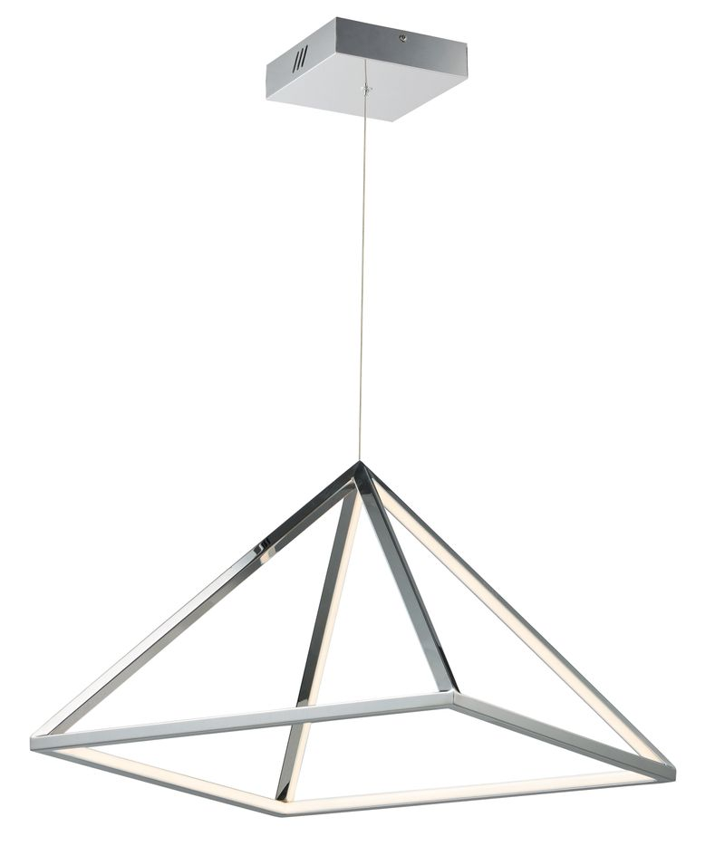 "Pyramid 19.75"" 1-Light Single Pendant - Polished Chrome"