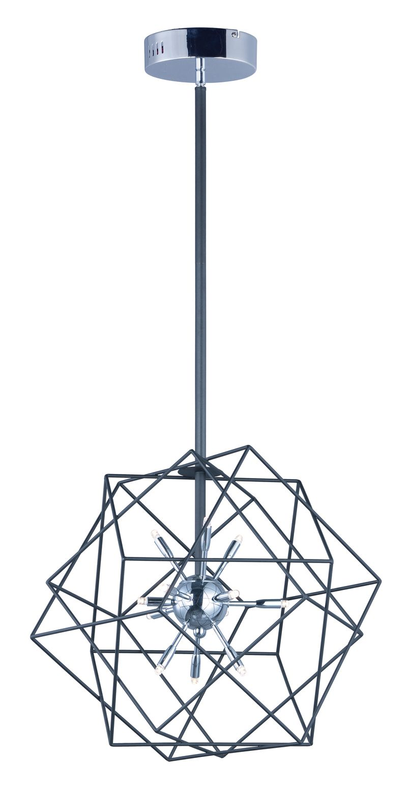 "Rubic 20.5"" 12-Light Single Pendant - Black / Polished Chrome"