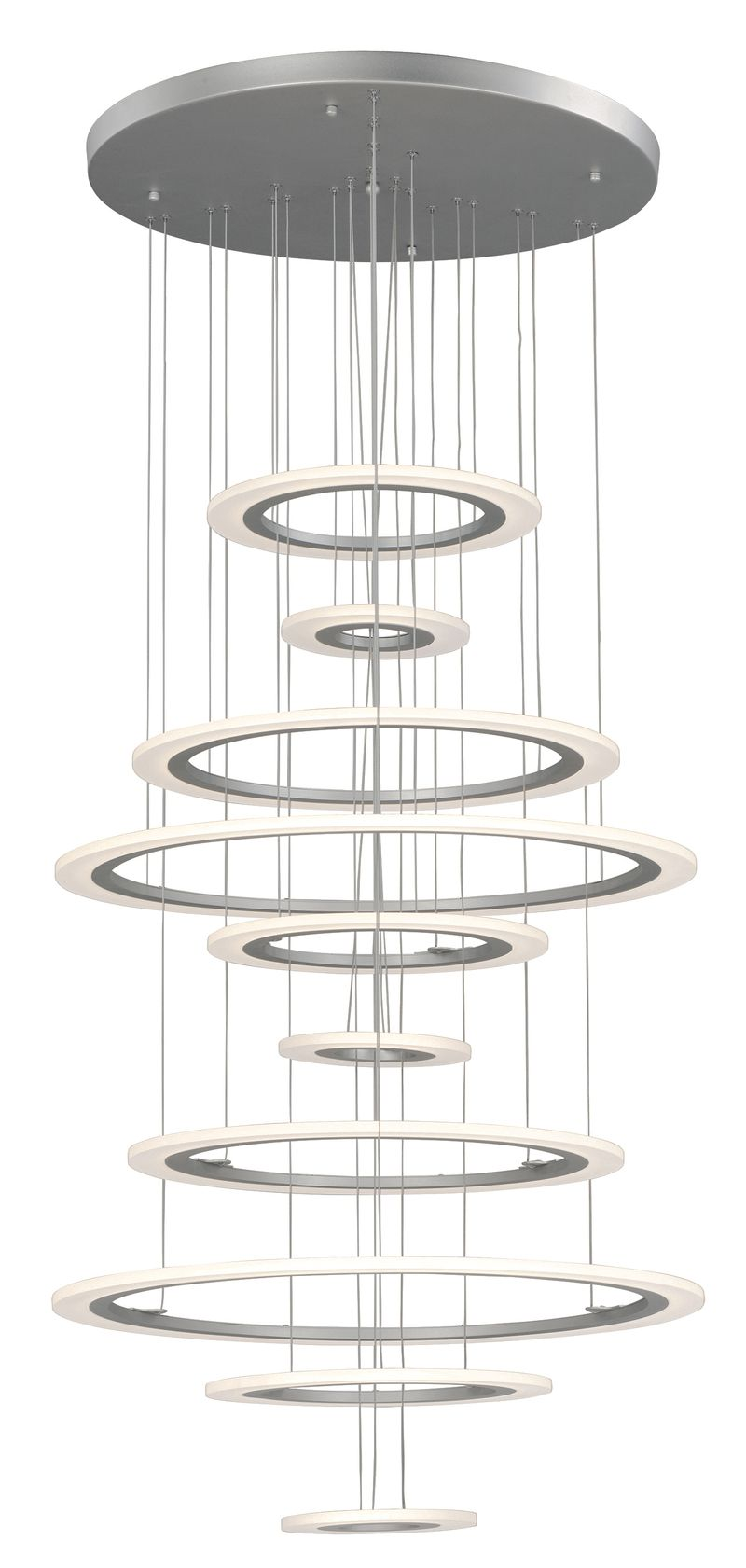 "Saturn II 30"" 10-Light Multi-Light Pendant - Matte Silver"