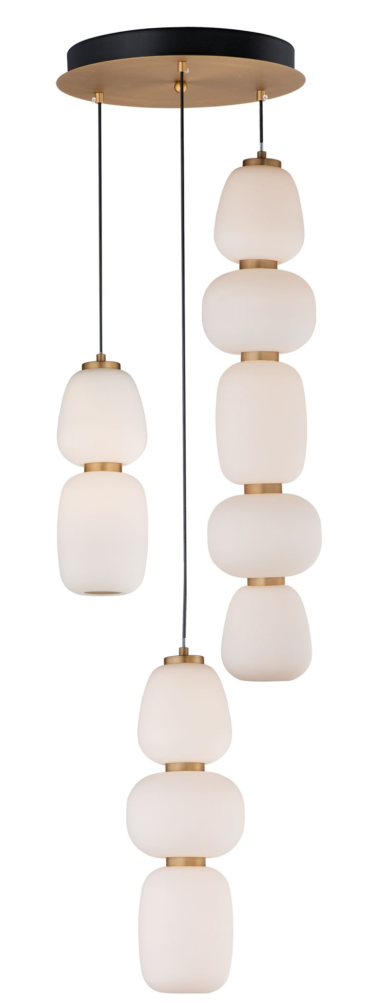 "Soji 15.75"" 3-Light Multi-Light Pendant - Black / Gold"