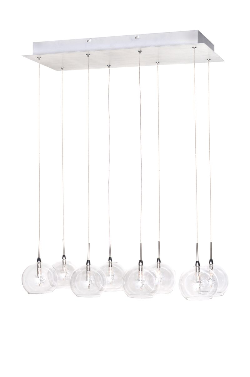 "Starburst 9.5"" 8-Light Linear Pendant - Polished Chrome"