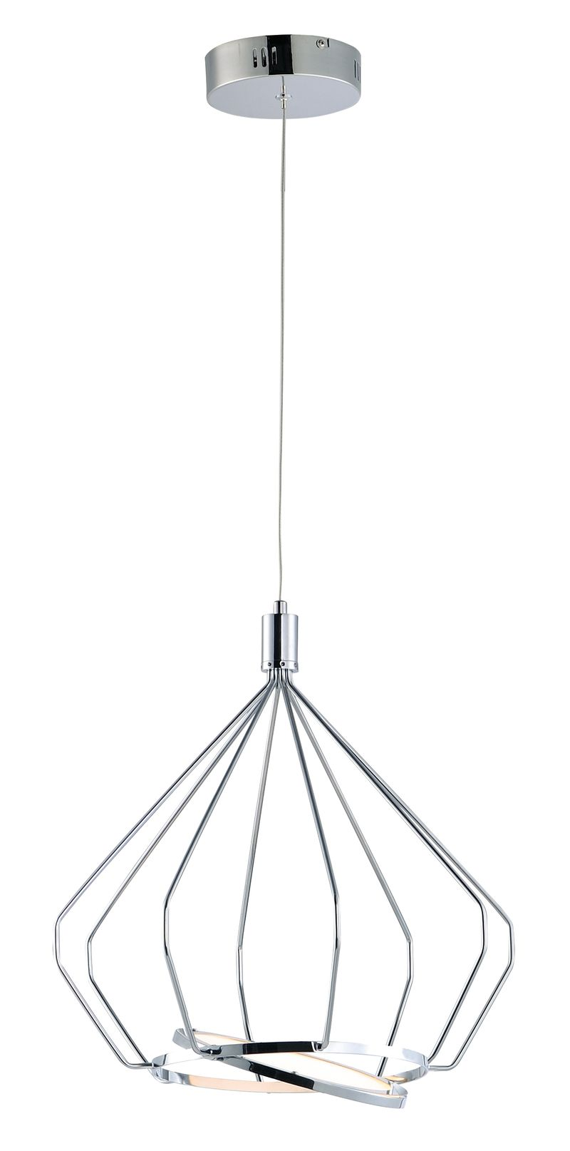 "Tilt 15.5"" 1-Light Linear Pendant - Polished Chrome"
