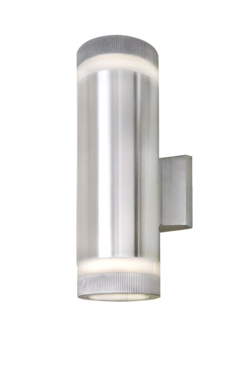 """Lightray 4.25"""" 2-Light Outdoor Wall Mount - Brushed Aluminum"""