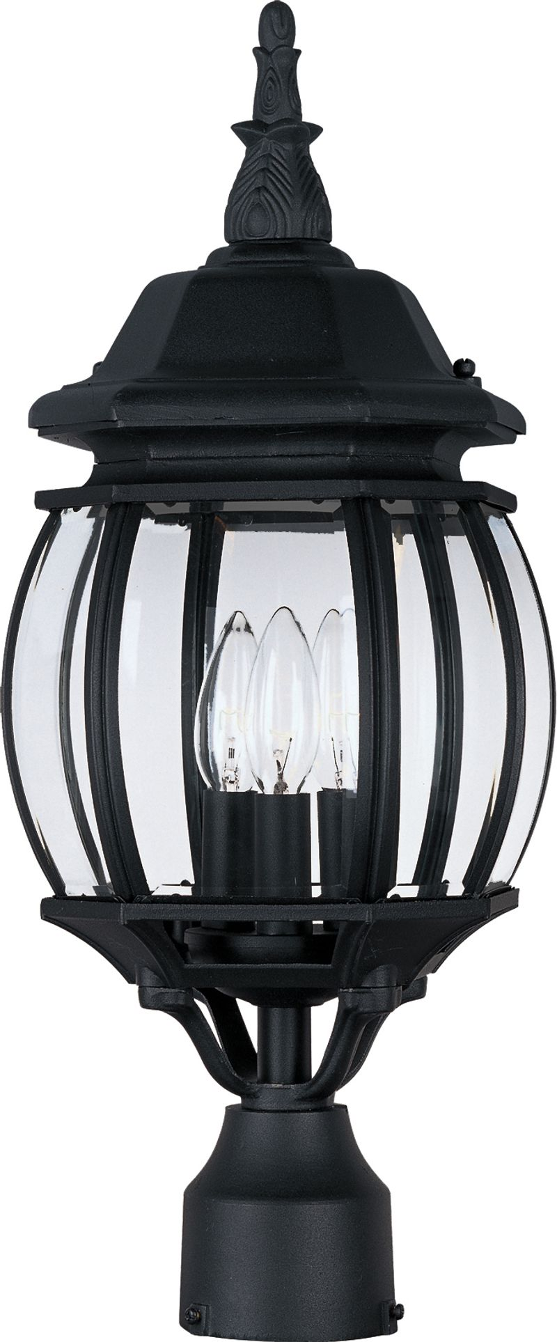 "Crown Hill 8"" 3-Light Post Mount - Black"