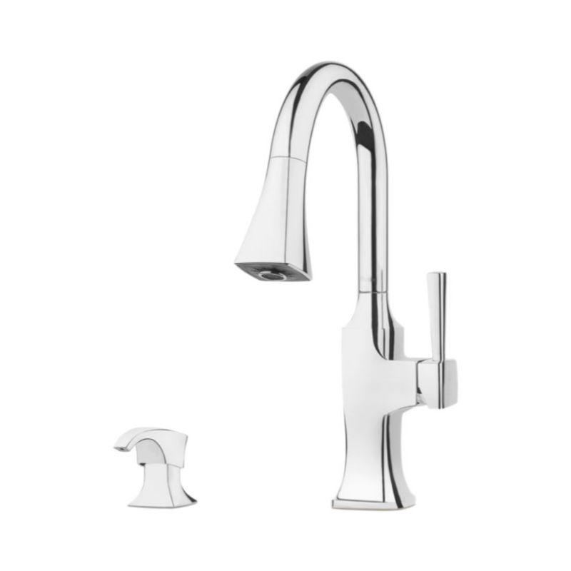 Hanover Single-Handle Pull-Down Two-Function Kitchen Faucet in Polished Chrome