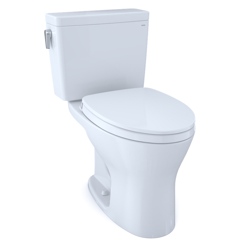"""Drake Two-Piece Dual-Flush Universal-Height Elongated Toilet with CEFIONTECT and Soft-Close Seat - Cotton White (27.38"""" x 28.88"""" x 17.31"""")"""